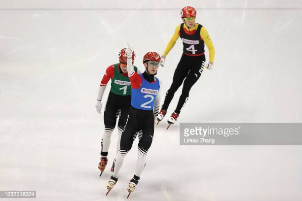 Wu Dajing of China celebrate winning the Short Track Speed Skating Men's 500m Final test event for the Beijing 2022 Winter Olympics at Capital Indoor...