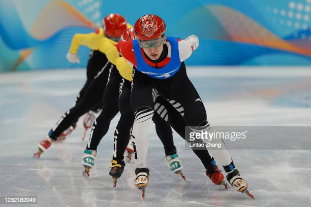 Wu Dajing of China compete during the Short Track Speed Skating Men's 1,000m Final test event for the Beijing 2022 Winter Olympics at Capital Indoor...
