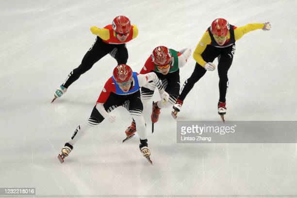 Wu Dajing of China compete during the Short Track Speed Skating Men's 500m Final test event for the Beijing 2022 Winter Olympics at Capital Indoor...