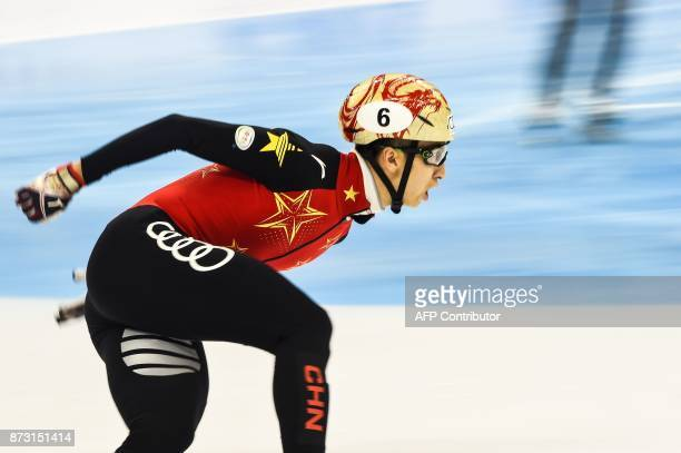 TOPSHOT Wu Dajing of China competes during the men's 1000m final A event at the ISU World Cup Short Track in Shanghai on November 12 2017 / AFP PHOTO...