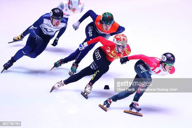 Wu Dajing of China competes in the Men«s 1000m quarter finals race during day two of ISU World Short Track Championships at Rotterdam Ahoy Arena on...