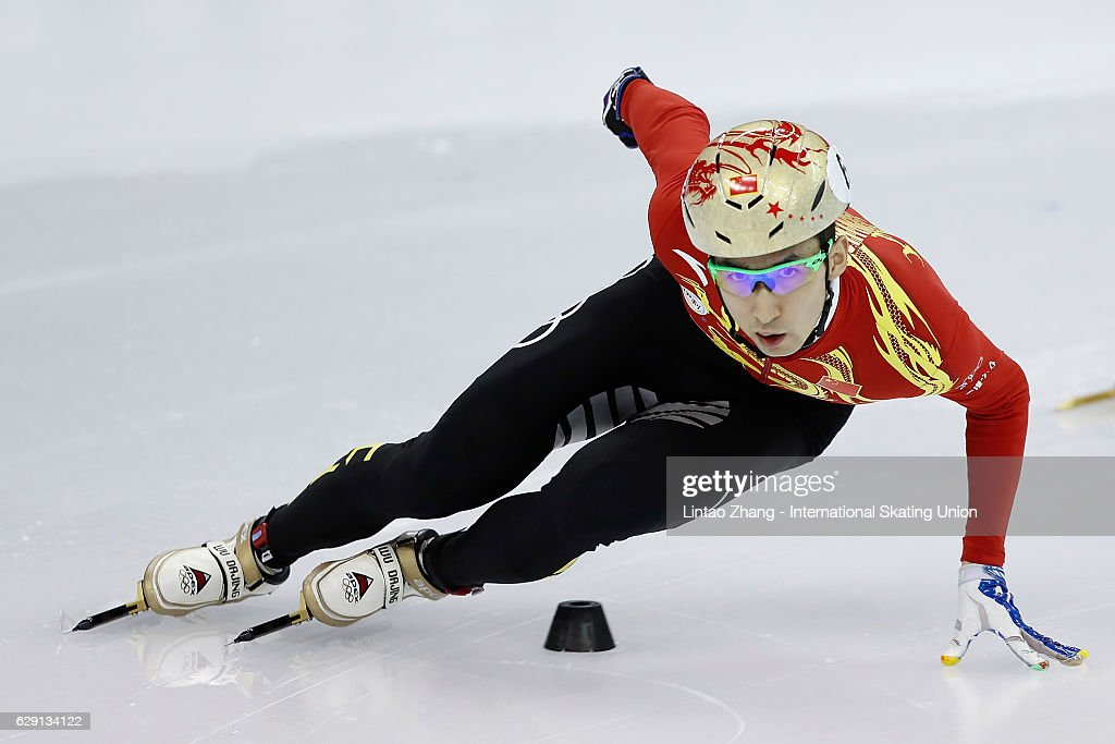 Wu Dajing of China competes in the men's 500m final at the ISU World Cup Short Track speed skating event at the Oriental Sports Center on December 11, 2016 in Shanghai, China.