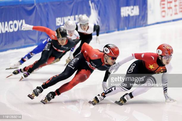 Wu Dajing of China competes in the Men's 500m Quarterfinal during the ISU World Cup Short Track at the Nippon Gaishi Arena on December 01, 2019 in...