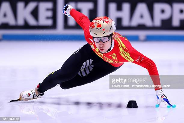 Wu Dajing of China competes in the Men«s 500m quarterfinals race during day one of ISU World Short Track Championships at Rotterdam Ahoy Arena on...