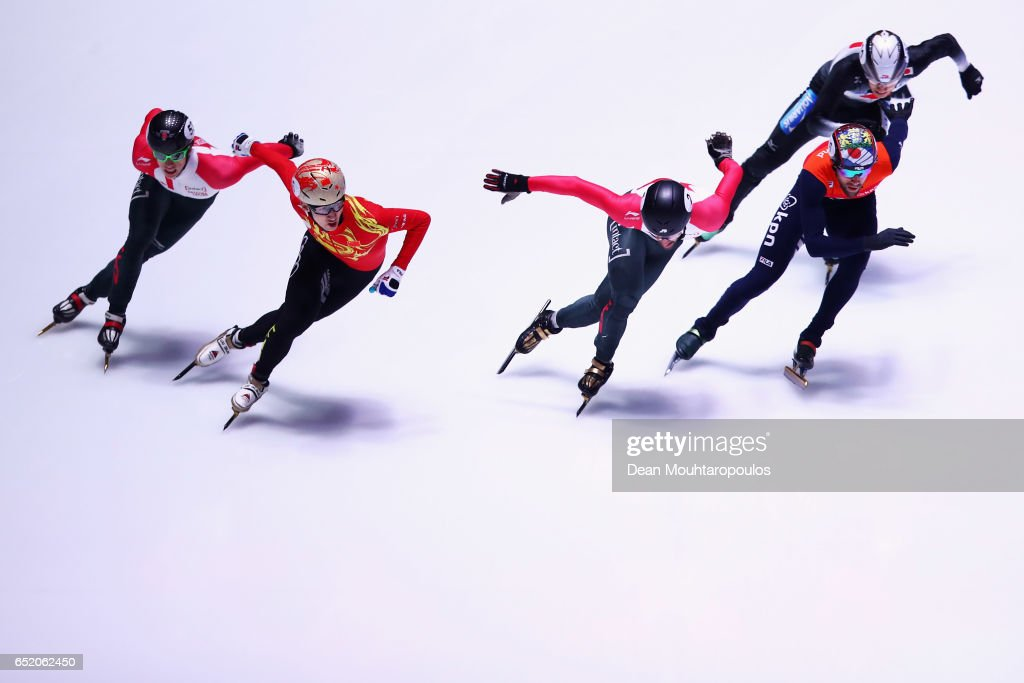 Wu Dajing of China leads and goes onto victory and his gold medal after he competes in the 1500m B Mens Final with silver medalist, Daan Breeuwsma of the Netherlands and Charles Hamelin of Canada taking the Bronze at ISU World Short track Speed Skating Championships held at the Ahoy on March 11, 2017 in Rotterdam, Netherlands.