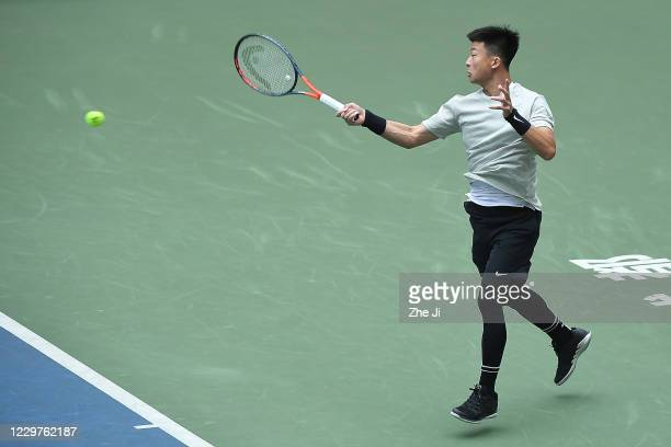Wu Di of China in action during the Men's singles first round against Zhang Ze of China on day 2 of the 2020 CTA Tour 800 1000 Finals Chengdu Open at...