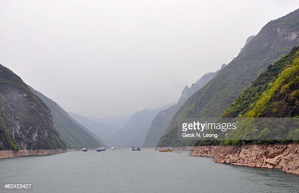 Wu Gorge, famous, well-known for its deep valley and elegant beauty of its forest-covered peaks and steep cliffs. Misty, beautiful, boats, Yangtze...