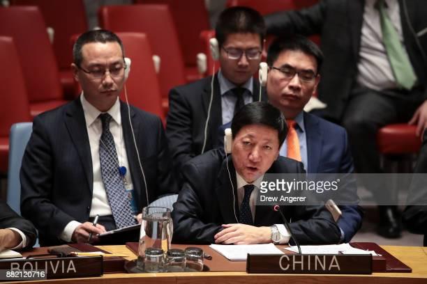 Wu Haitao, Chinese deputy ambassador to the United Nations, speaks during an emergency meeting of the United Nations Security Council concerning...