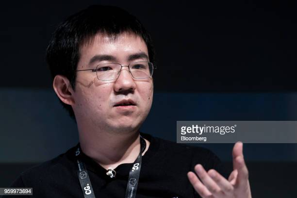 Wu Jihan cofounder of Bitmain Technologies Ltd speaks during the Coingeek Conference in Hong Kong China on Friday May 18 2018 The conference runs...
