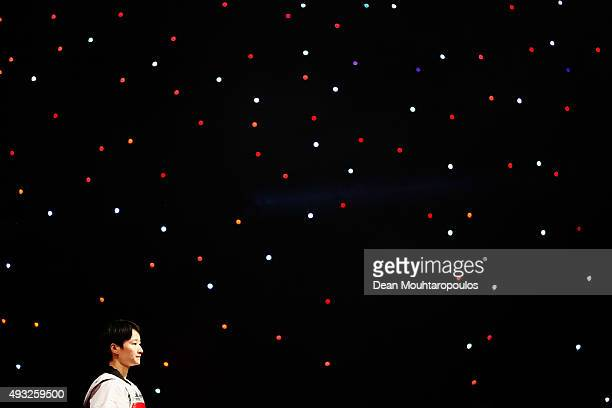 Wu Jingyu of China looks on before her fight against Chanatip Sonkham of Thailand in Seniors Female A 49kg Final during the World Taekwondo Grand...