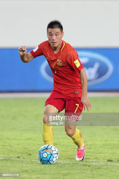 Wu Lei of China in action during the CFA Team China International Football Match between China National Team and Philippines National Team at...