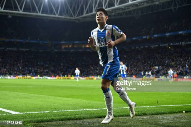 Wu Lei of Espanyol celebrates after scoring his team's second goal during the La Liga match between RCD Espanyol and FC Barcelona at RCDE Stadium on...