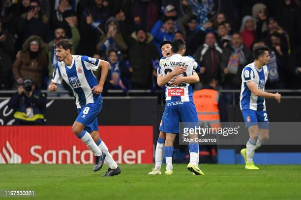 Wu Lei of Espanyol celebrates with teammates after scoring his team's second goal during the La Liga match between RCD Espanyol and FC Barcelona at...