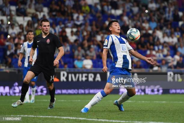 Wu Lei of Espanyol controls the ball in front of goal during the UEFA Europa League Play Off match between Espanyol and Zoryan Luhansk at RCDE...
