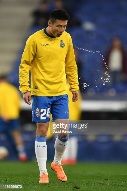 Wu Lei of Espanyol during the warm up ahead of the La Liga match between RCD Espanyol and Getafe CF at RCDE Stadium on April 02 2019 in Barcelona...