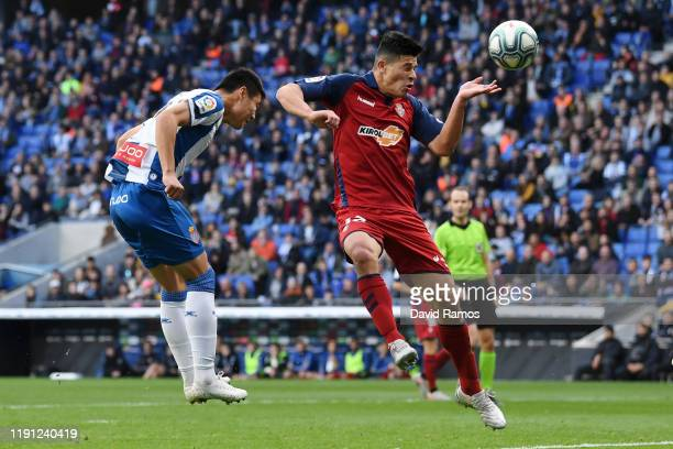 Wu Lei of Espanyol misses a header during the La Liga match between RCD Espanyol and CA Osasuna at RCDE Stadium on December 01 2019 in Barcelona Spain