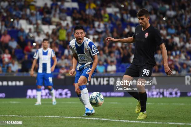 Wu Lei of Espanyol reacts after missing a chance to score front of goal during the UEFA Europa League Play Off match between Espanyol and Zoryan...