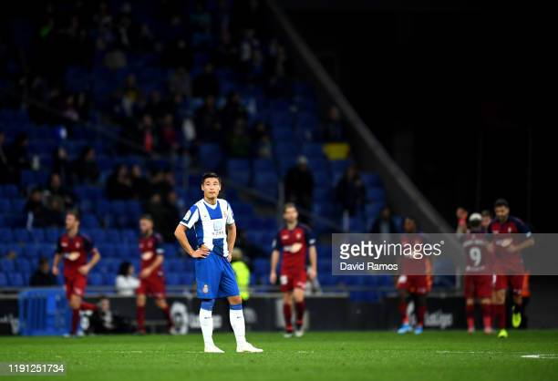 Wu Lei of Espanyol reacts during the La Liga match between RCD Espanyol and CA Osasuna at RCDE Stadium on December 01 2019 in Barcelona Spain