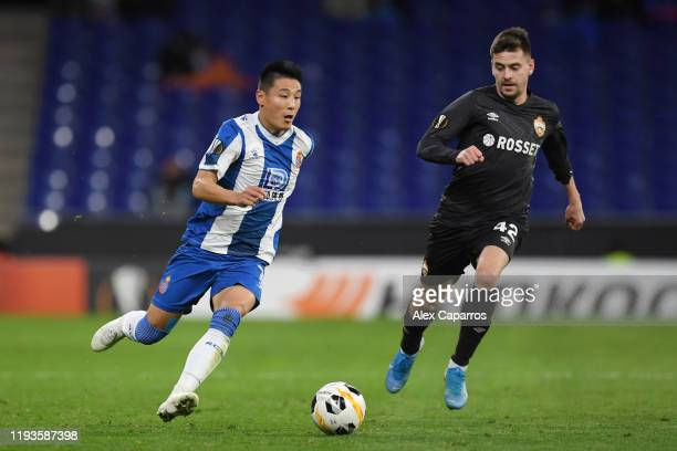 Wu Lei of Espanyol runs with the ball during the UEFA Europa League group H match between Espanyol Barcelona and CSKA Moskva at Power8 Stadium on...