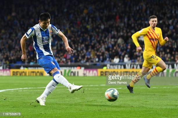 Wu Lei of Espanyol scores his team's second goal during the La Liga match between RCD Espanyol and FC Barcelona at RCDE Stadium on January 04 2020 in...