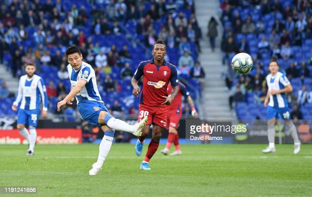 Wu Lei of Espanyol shoots during the La Liga match between RCD Espanyol and CA Osasuna at RCDE Stadium on December 01 2019 in Barcelona Spain