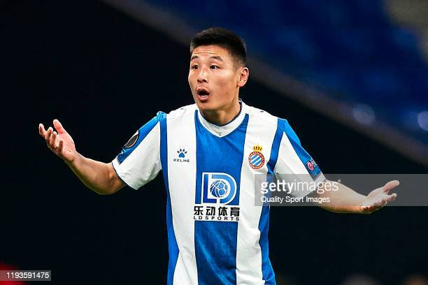 Wu Lei of RCD Espanyol Barcelona competes for the ball with XXXXX of CSKA Moskva during the UEFA Europa League group H match between Espanyol...
