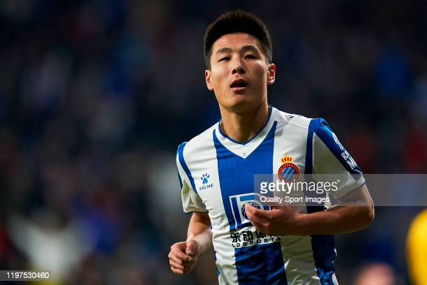 Wu Lei of RCD Espanyol celebrates after scoring his team's second goal during the Liga match between RCD Espanyol and FC Barcelona at RCDE Stadium on...