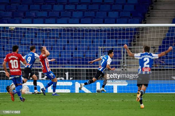 Wu Lei of RCD Espanyol celebrates after scoring the opening goal during the LaLiga SmartBank match between RCD Espanyol and Real Sporting de Gijon at...