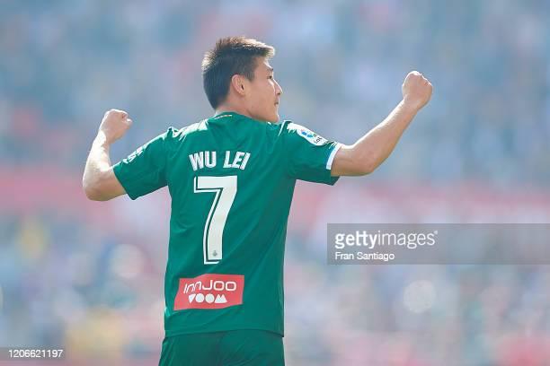Wu Lei of RCD Espanyol celebrates scoring his team's second goal during the Liga match between Sevilla FC and RCD Espanyol at Estadio Ramon Sanchez...