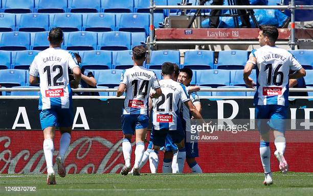 Wu Lei of RCD Espanyol celebrates with his team mates after scoring his team's second goal during the La Liga match between RCD Espanyol and...