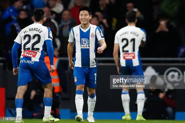Wu Lei of RCD Espanyol celebrates with teammates after scoring the 22 during the Liga match between RCD Espanyol and FC Barcelona at RCDE Stadium on...