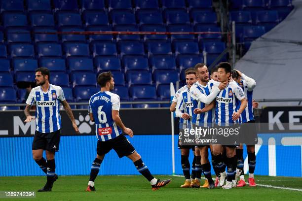 Wu Lei of RCD Espanyol celebrates with teammates after scoring the opening goal during the LaLiga SmartBank match between RCD Espanyol and Real...