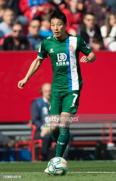 Wu Lei of RCD Espanyol in action during the Liga match between Sevilla FC and RCD Espanyol at Estadio Ramon Sanchez Pizjuan on February 16 2020 in...