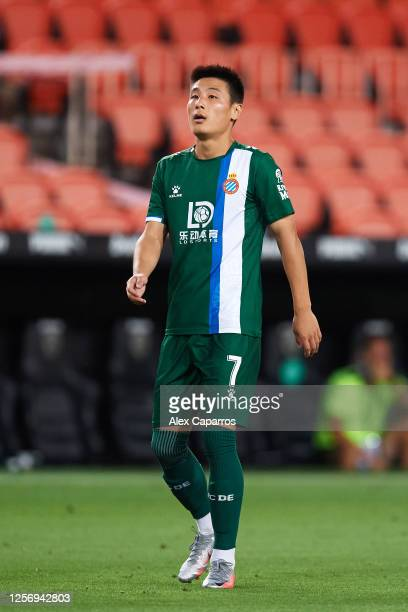 Wu Lei of RCD Espanyol looks on during the Liga match between Valencia CF and RCD Espanyol at Estadio Mestalla on July 16 2020 in Valencia Spain