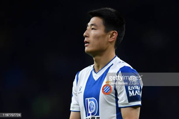 Wu Lei of RCD Espanyol looks on during the Liga match between RCD Espanyol and FC Barcelona at RCDE Stadium on January 04 2020 in Barcelona Spain