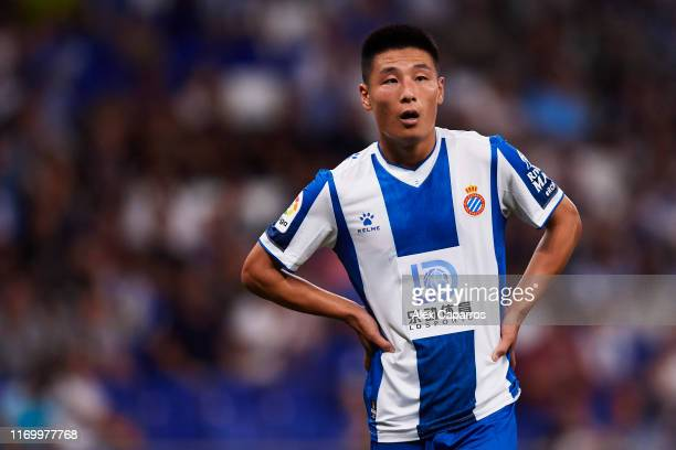Wu Lei of RCD Espanyol looks on during the UEFA Europa League Play Off match between Espanyol and Zoryan Luhansk at RCDE Stadium on August 22 2019 in...