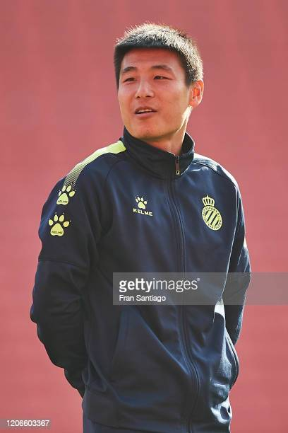 Wu Lei of RCD Espanyol looks on prior to the Liga match between Sevilla FC and RCD Espanyol at Estadio Ramon Sanchez Pizjuan on February 16 2020 in...