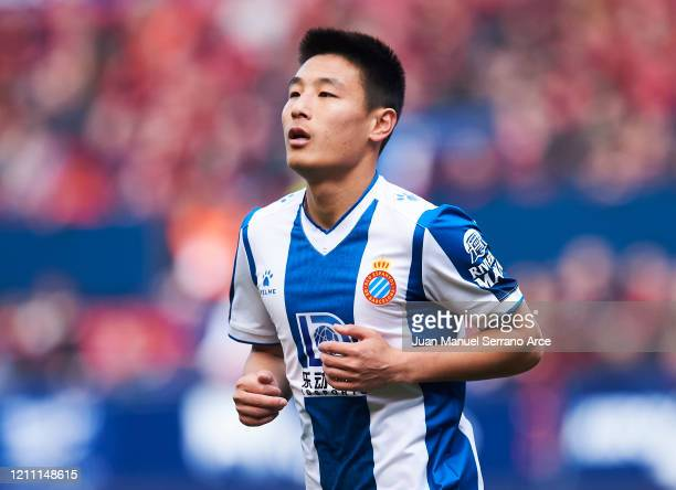 Wu Lei of RCD Espanyol reacts during the Liga match between CA Osasuna and RCD Espanyol at El Sadar Stadium on March 08 2020 in Pamplona Spain