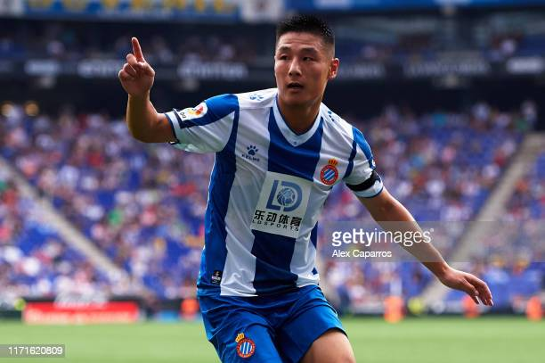 Wu Lei of RCD Espanyol reacts during the Liga match between RCD Espanyol and Granada CF at RCDE Stadium on September 01 2019 in Barcelona Spain
