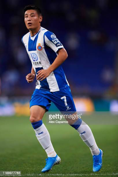 Wu Lei of RCD Espanyol runs during the UEFA Europa League Play Off match between Espanyol and Zoryan Luhansk at RCDE Stadium on August 22 2019 in...