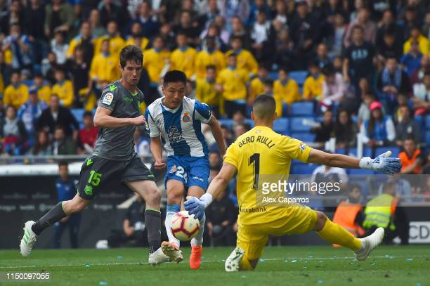 Wu Lei of RCD Espanyol scores his team's second goal during the La Liga match between RCD Espanyol and Real Sociedad at RCDE Stadium on May 18 2019...