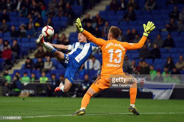 Wu Lei of RCD Espanyol scores the opening goal during the La Liga match between RCD Espanyol and RC Celta de Vigo at RCDE Stadium on April 24 2019 in...