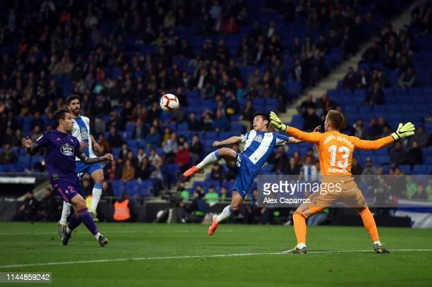 Wu Lei of RCD Espanyol scores the opening goal of the La Liga match between RCD Espanyol and RC Celta de Vigo at RCDE Stadium on April 24 2019 in...