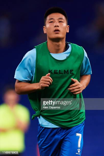 Wu Lei of RCD Espanyol warms up before the UEFA Europa League Play Off match between Espanyol and Zoryan Luhansk at RCDE Stadium on August 22 2019 in...