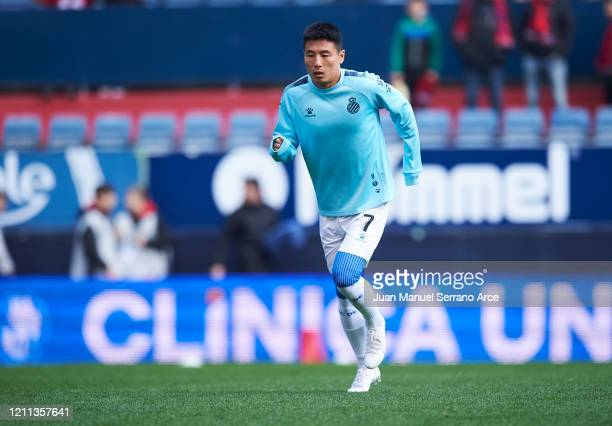 Wu Lei of RCD Espanyol warms up prior to the La Liga match between CA Osasuna and RCD Espanyol at El Sadar Stadium on March 08 2020 in Pamplona Spain