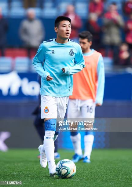 Wu Lei of RCD Espanyol warms up prior to the La Liga match between CA Osasuna and RCD Espanyol at El Sadar Stadium on March 08, 2020 in Pamplona,...