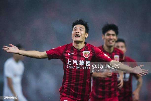 Wu Lei of Shanghai SIPG celebrates a goal during the 2018 Chinese Super League title match between Shanghai SIPG v Beijing Renhe at Shanghai Stadium...