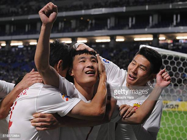 Wu Lei of Shanghai SIPG celebrates the first goal during the AFC Champions League Group G match between Gamba Osaka and Shanghai SIPG FC at the Suita...
