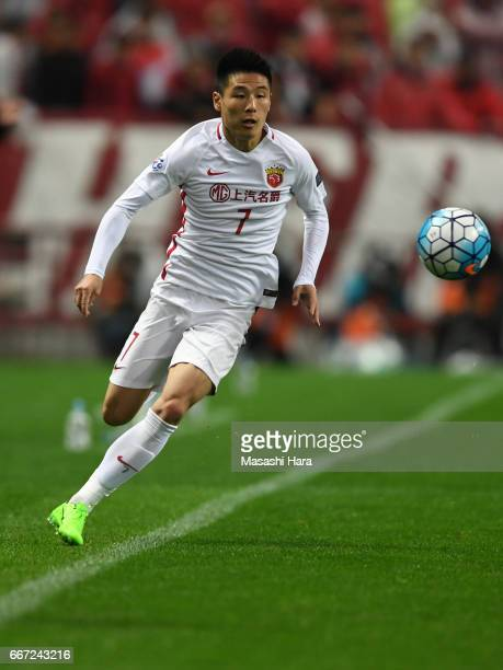 Wu Lei of Shanghai SIPG in action during the AFC Champions League Group F match between Urawa Red Diamonds and Shanghai SIPG FC at Saitama Stadium on...