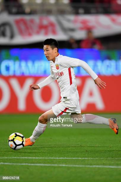 Wu Lei of Shanghai SIPG in action during the AFC Champions League Round of 16 first leg match between Kashima Antlers and Shanghai SIPG at Kashima...